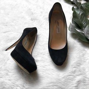 Jimmy Choo Black Suede Almond Toe Pumps Heels